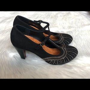 Chie Mihara Embellished Suede Mary Jane Heels